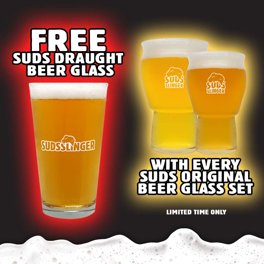 Get a Free Suds Draught Glass with EVery Suds Original Beer Glass Set